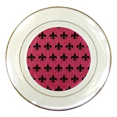 Royal1 Black Marble & Pink Denim (r) Porcelain Plates by trendistuff