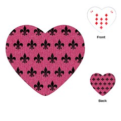 Royal1 Black Marble & Pink Denim (r) Playing Cards (heart)  by trendistuff