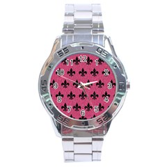 Royal1 Black Marble & Pink Denim (r) Stainless Steel Analogue Watch by trendistuff