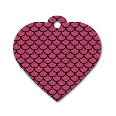 Scales1 Black Marble & Pink Denim Dog Tag Heart (two Sides) by trendistuff