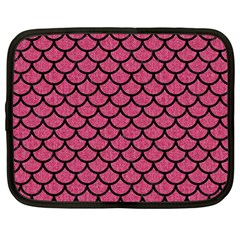 Scales1 Black Marble & Pink Denim Netbook Case (large) by trendistuff