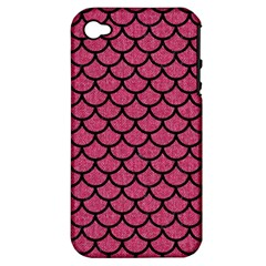 Scales1 Black Marble & Pink Denim Apple Iphone 4/4s Hardshell Case (pc+silicone) by trendistuff