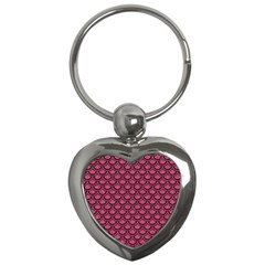 Scales2 Black Marble & Pink Denim Key Chains (heart)  by trendistuff