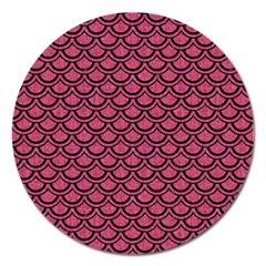 Scales2 Black Marble & Pink Denim Magnet 5  (round) by trendistuff