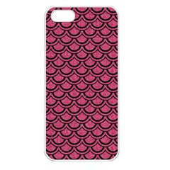 Scales2 Black Marble & Pink Denim Apple Iphone 5 Seamless Case (white) by trendistuff