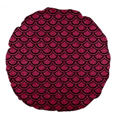 Scales2 Black Marble & Pink Denim Large 18  Premium Round Cushions by trendistuff