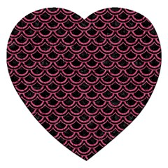 Scales2 Black Marble & Pink Denim (r) Jigsaw Puzzle (heart) by trendistuff