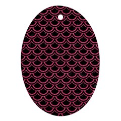 Scales2 Black Marble & Pink Denim (r) Oval Ornament (two Sides) by trendistuff