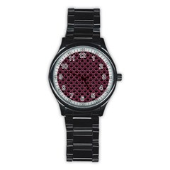 Scales2 Black Marble & Pink Denim (r) Stainless Steel Round Watch by trendistuff