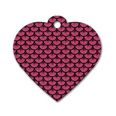 Scales3 Black Marble & Pink Denim Dog Tag Heart (one Side) by trendistuff