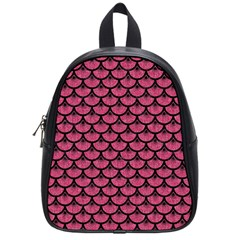Scales3 Black Marble & Pink Denim School Bag (small) by trendistuff