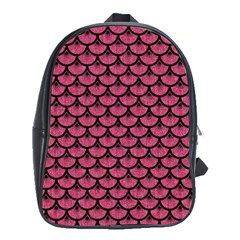 Scales3 Black Marble & Pink Denim School Bag (xl) by trendistuff