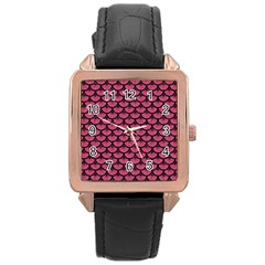 Scales3 Black Marble & Pink Denim Rose Gold Leather Watch  by trendistuff
