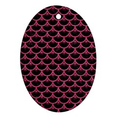 Scales3 Black Marble & Pink Denim (r) Ornament (oval) by trendistuff