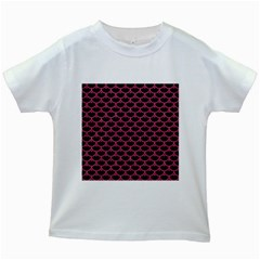 Scales3 Black Marble & Pink Denim (r) Kids White T Shirts