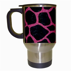 Skin1 Black Marble & Pink Denim Travel Mugs (white)