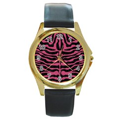 Skin2 Black Marble & Pink Denim (r) Round Gold Metal Watch by trendistuff