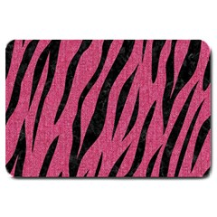 Skin3 Black Marble & Pink Denim Large Doormat  by trendistuff
