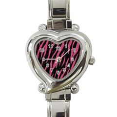 Skin3 Black Marble & Pink Denim (r) Heart Italian Charm Watch by trendistuff