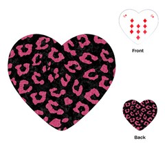 Skin5 Black Marble & Pink Denim Playing Cards (heart)  by trendistuff