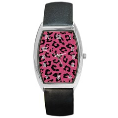Skin5 Black Marble & Pink Denim (r) Barrel Style Metal Watch by trendistuff