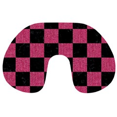 Square1 Black Marble & Pink Denim Travel Neck Pillows by trendistuff