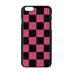 Square1 Black Marble & Pink Denim Apple Iphone 6/6s Black Enamel Case by trendistuff