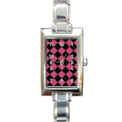Square2 Black Marble & Pink Denim Rectangle Italian Charm Watch
