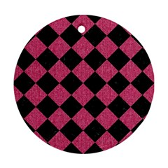 Square2 Black Marble & Pink Denim Round Ornament (two Sides) by trendistuff