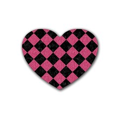 Square2 Black Marble & Pink Denim Heart Coaster (4 Pack)  by trendistuff