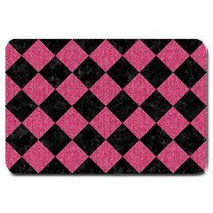 Square2 Black Marble & Pink Denim Large Doormat  by trendistuff