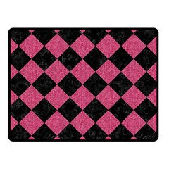 Square2 Black Marble & Pink Denim Double Sided Fleece Blanket (small)  by trendistuff