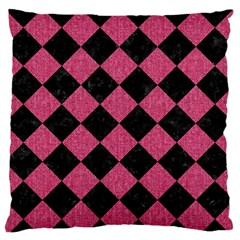 Square2 Black Marble & Pink Denim Large Flano Cushion Case (one Side)