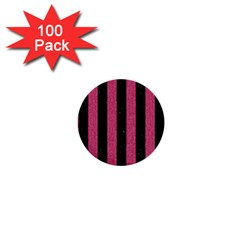 Stripes1 Black Marble & Pink Denim 1  Mini Buttons (100 Pack)  by trendistuff