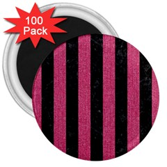 Stripes1 Black Marble & Pink Denim 3  Magnets (100 Pack) by trendistuff