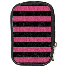 Stripes2 Black Marble & Pink Denim Compact Camera Cases by trendistuff