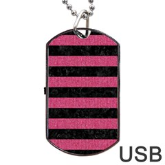 Stripes2 Black Marble & Pink Denim Dog Tag Usb Flash (one Side) by trendistuff