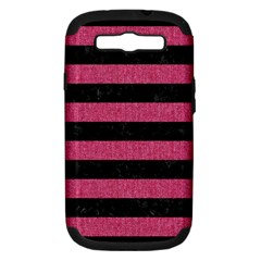 Stripes2 Black Marble & Pink Denim Samsung Galaxy S Iii Hardshell Case (pc+silicone) by trendistuff