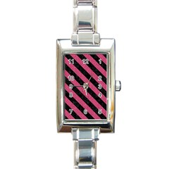 Stripes3 Black Marble & Pink Denim Rectangle Italian Charm Watch by trendistuff