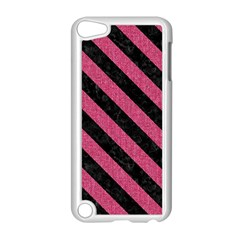 Stripes3 Black Marble & Pink Denim Apple Ipod Touch 5 Case (white) by trendistuff