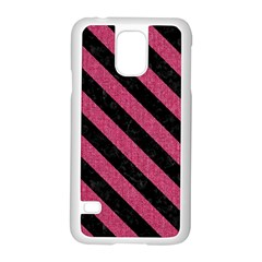 Stripes3 Black Marble & Pink Denim Samsung Galaxy S5 Case (white) by trendistuff