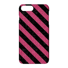 Stripes3 Black Marble & Pink Denim Apple Iphone 8 Plus Hardshell Case by trendistuff