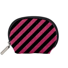 Stripes3 Black Marble & Pink Denim (r) Accessory Pouches (small)  by trendistuff