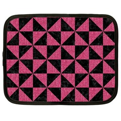 Triangle1 Black Marble & Pink Denim Netbook Case (xxl)  by trendistuff