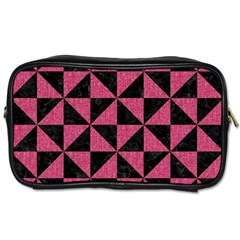 Triangle1 Black Marble & Pink Denim Toiletries Bags by trendistuff