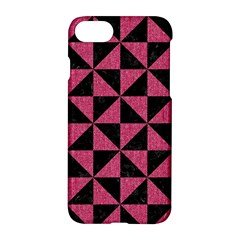 Triangle1 Black Marble & Pink Denim Apple Iphone 8 Hardshell Case