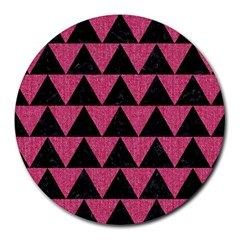 Triangle2 Black Marble & Pink Denim Round Mousepads by trendistuff