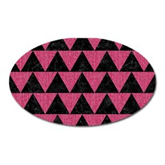 Triangle2 Black Marble & Pink Denim Oval Magnet by trendistuff