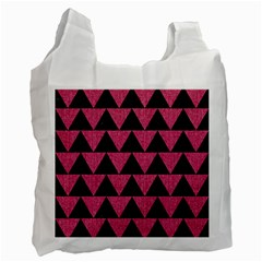 Triangle2 Black Marble & Pink Denim Recycle Bag (one Side) by trendistuff