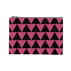 Triangle2 Black Marble & Pink Denim Cosmetic Bag (large)  by trendistuff
